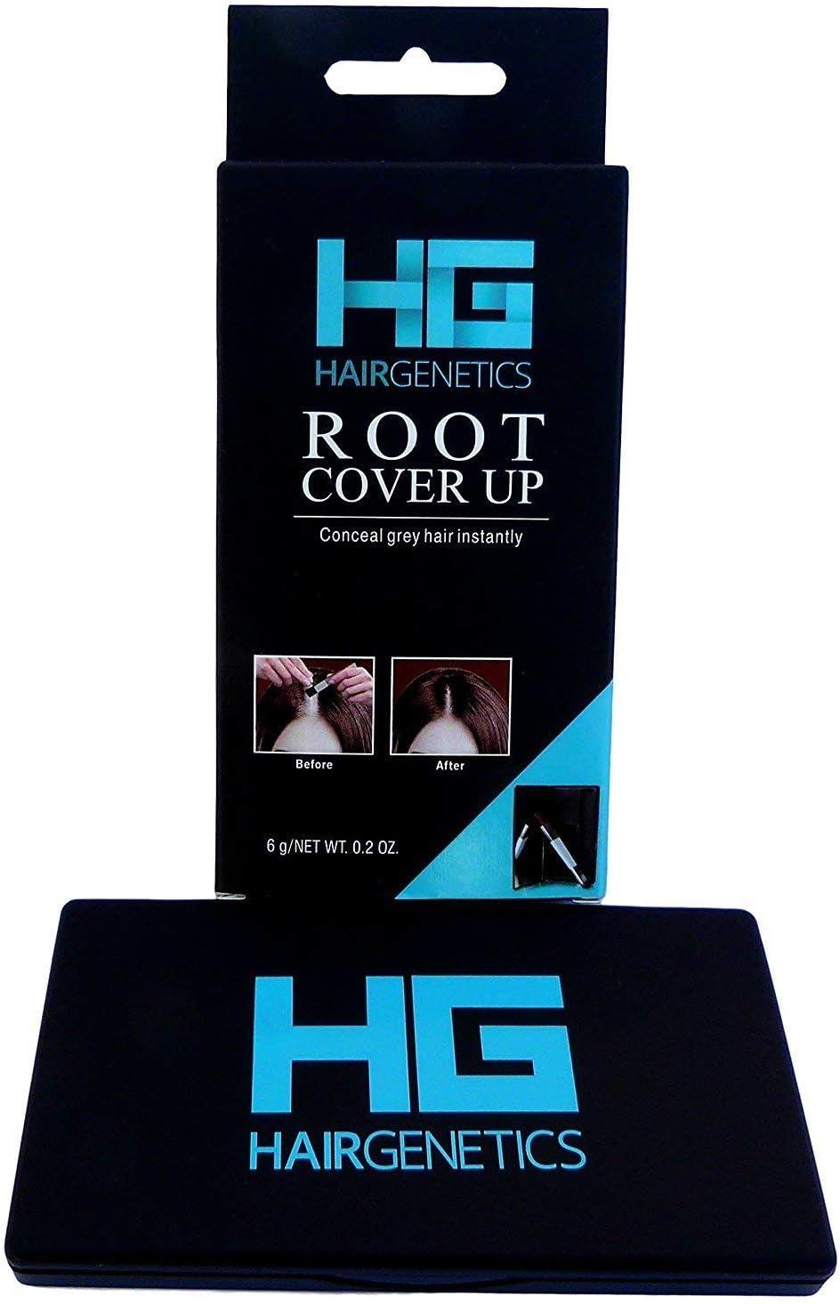 Hair Genetics® Retoca Raíces de Polvos Minerales de Aspecto Natural - Retocador de Raíces tras Coloración del Pelo para Cubrir Canas - Tinte de Cejas que Define y Rellena en Segundos (Negro)