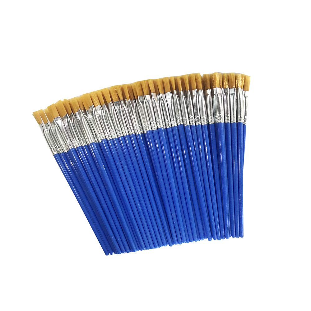 Children's Art Paintbrushes,Little Painting Brushes for Kids with Flat Tip Blue (100 Pieces)