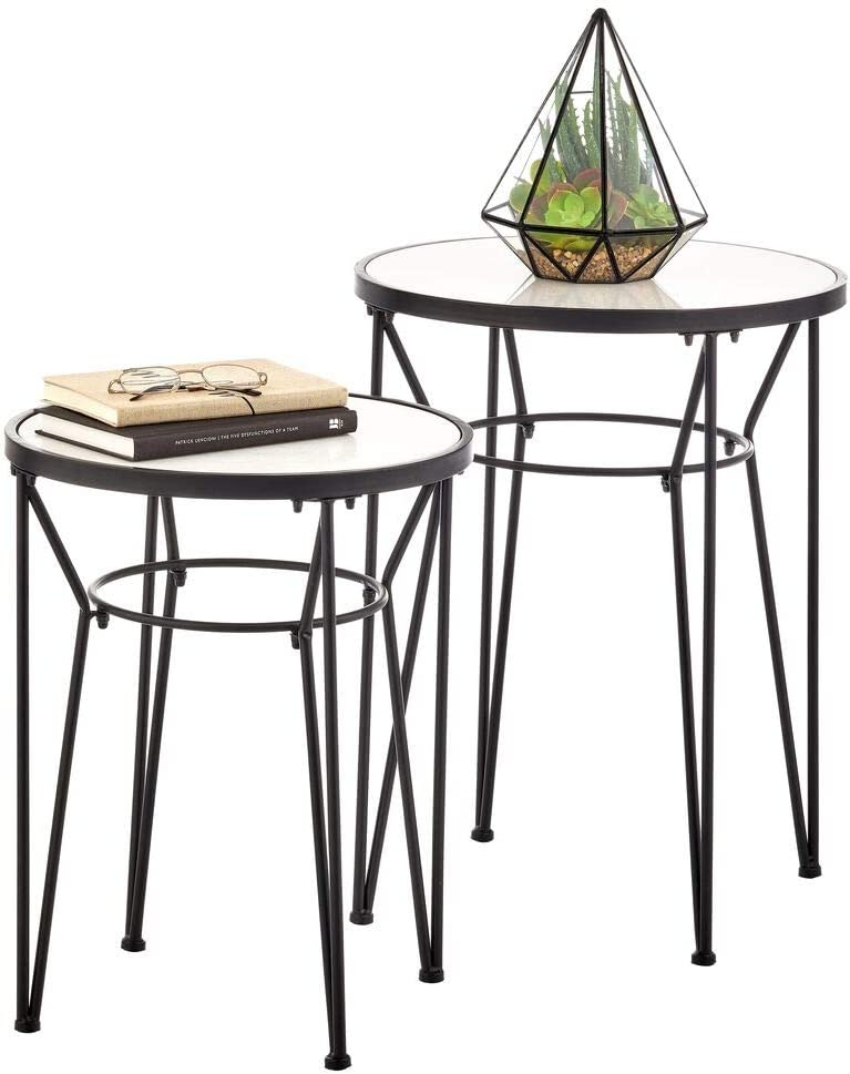 mDesign Round Metal & Marble in-Lay Accent Table with Hairpin Legs- Side/End Table - Decorative Legs, Marble Top - Home Decor Accent Furniture for Living Room, Bedroom - 2 Pack - Matte Black/Marble