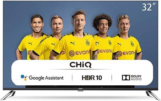 CHiQ Televisor Smart TV LED 32 Pulgadas, HD, HDR10/HLG, Android 9.0, WiFi, Bluetooth, Google Assistant, Netflix, Prime Video HDMI, USB: Amazon.es: Electrónica