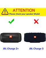 Khanka EVA Hard Case Travel Carrying Storage Bag for JBL Charge 2 & JBL Charge 2+ Plus Splashproof Portable Bluetooth Wireless Speaker . Fits USB Cable and Wall Charger - Black