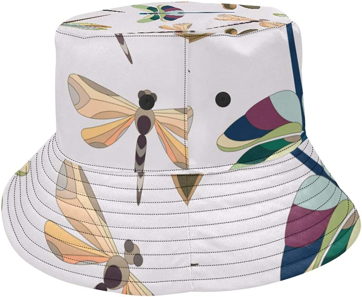 Dragonfly Charming Colorful Insect Summer Unisex Fishing Sun Top Bucket Hats for Kid Teens Women and Men with Packable Fisherman Cap for Outdoor Baseball Sport Picnic