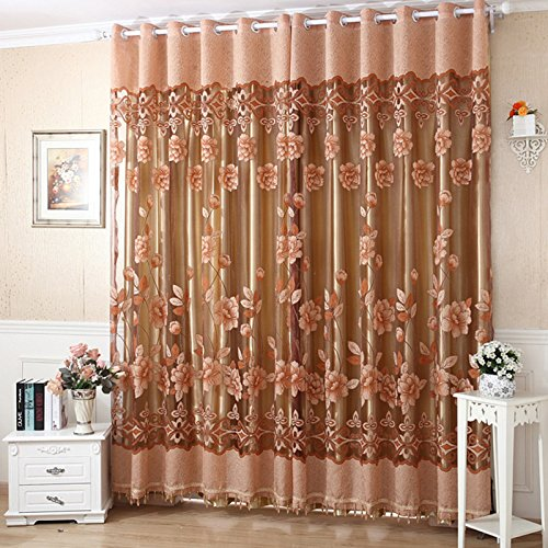 M-Egal Edal Romantic Modern Floral Peony Tulle Living Room Drapery Valances Window Grey