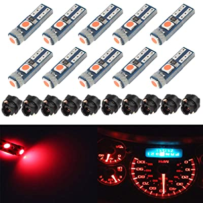 BlyilyB 10-Pack Red T5 2721 37 74 Wedge Led Bulb PC74 Twist Sockets Replacement Dash Dashboard Lights Instrument Panel Cluster LEDS Lamps: Automotive
