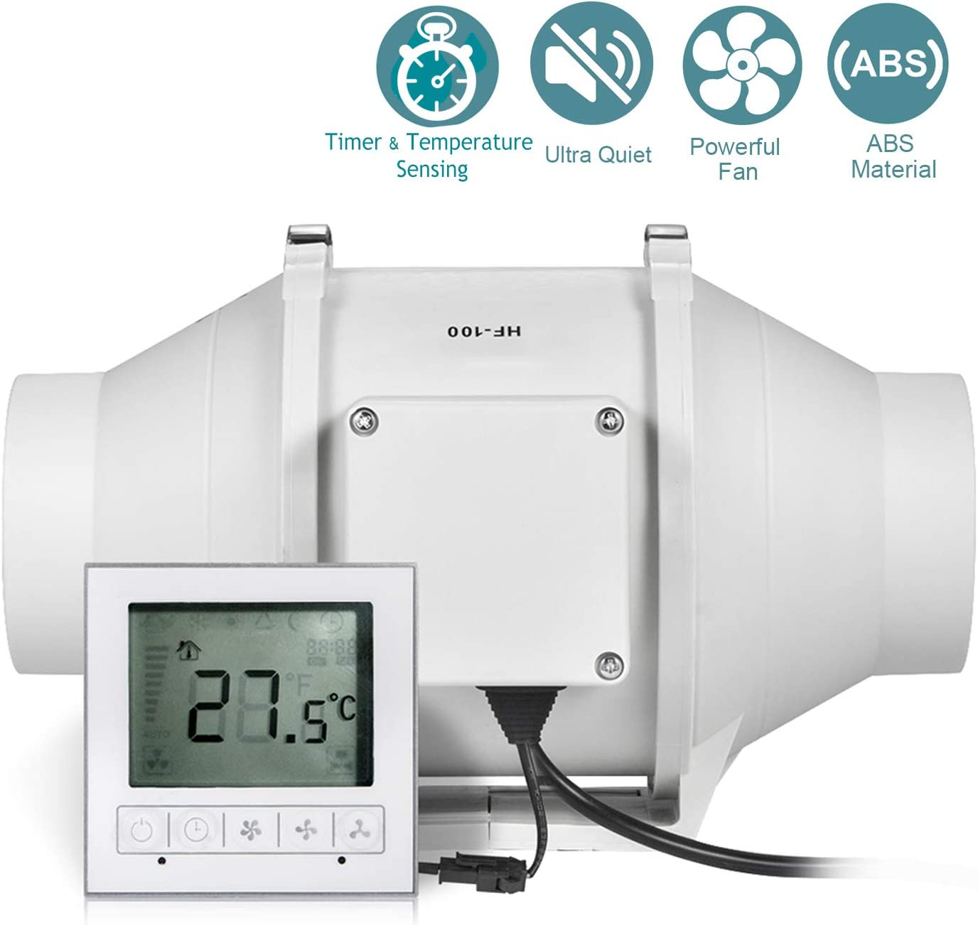 Ventilador Extractor, HG POWER Ventilador de desagüe ajustable con regulador de velocidad, retardo de encendido, silencioso, ventilador de canal, ventilador de tuberías para ventilación
