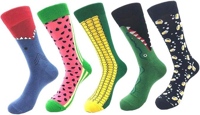 QinMMROPA 5 pares unisex calcetines largos divertidos de algodón ...