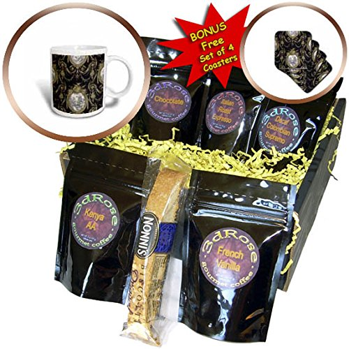 - 3dRose RinaPiro - Pattern - French toile. Gold and Black. - Coffee Gift Baskets - Coffee Gift Basket (cgb_268733_1)