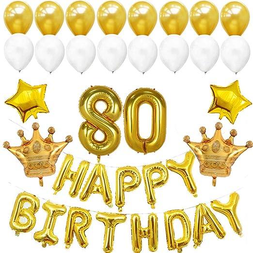 Toyvian 80.o Globos de cumpleaños Número de Golden Jumbo ...