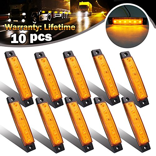 Led Side Marker Lamp (FXC 10X 12V 6 LED Truck Bus Boat Trailer Side Marker Indicators Light Lamp Amber?)