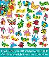 Pegatinas de Espuma con Diseños de Insectos para Decorar Tarjetas, Cuadernos, Manualidades y Collages Infantiles (Pack de 100): Amazon.es: Juguetes y juegos