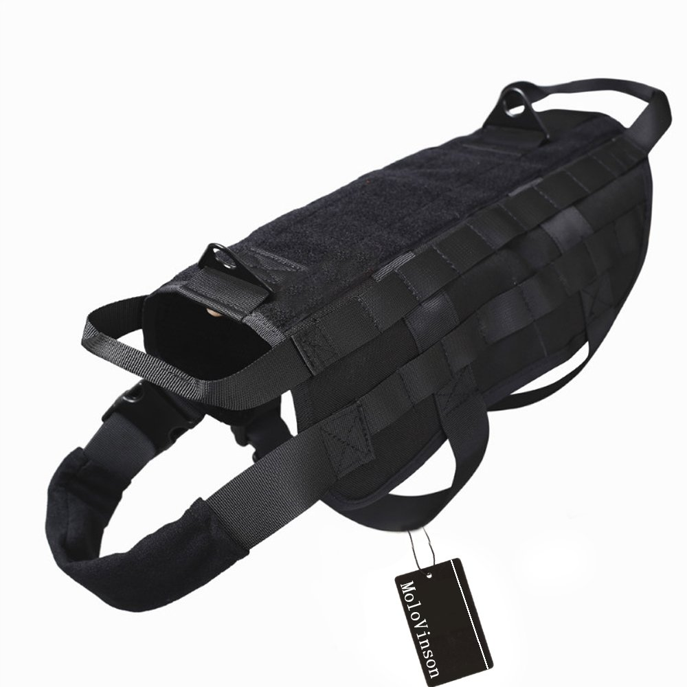 MoloVinson Tactical Dog Molle Vest Harness Training Camping Dog Vest with Two Handles Military Patrol K9 Dog Harness for Small Medium & Large Dog spanker