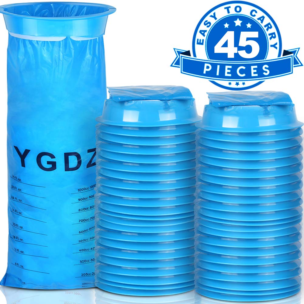 Barf Bags, YGDZ 45 Pack Vomit Bags, Blue Emesis Bags, Motion Sickness Puke Nausea Bags, Disposable Vomit Bags for Car Travel Hospital, 1000ml by YGDZ