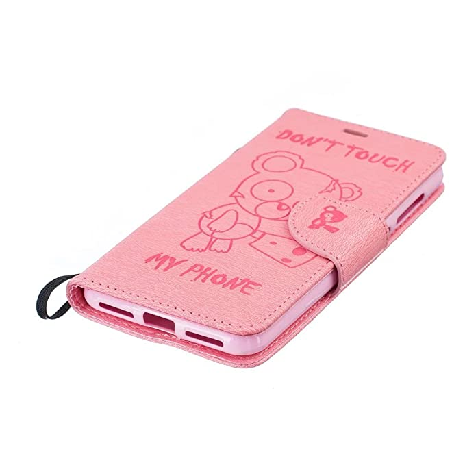 Amazon.com: Luxury PU Leather Phone Case Cute Cartoon Bear ...
