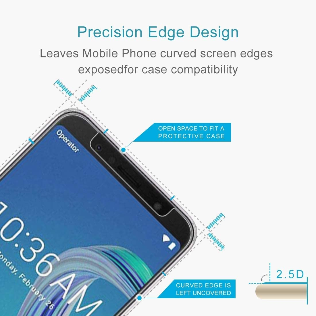 JIN TEMPEREDGLASSFILM 100 PCS 0.26mm 9H 2.5D Tempered Glass Film for Asus ZenFone Max Pro ZB601KL M1