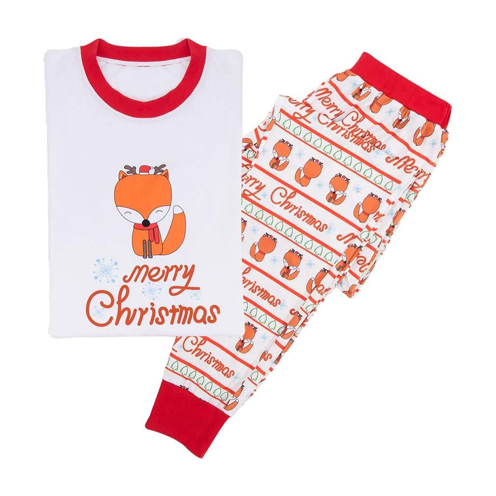 MEIHAOWEI Xmas Family Passende Pyjamas Erwachsene Frauen Mom Dad Kinder Baby Nachtwä sche Nachtwä sche Fox Pyjamas Set Weihnachten Kostü m