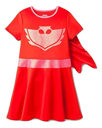 PJ MASKS Little Girls Costume Dress W/Cape, Hot Pink,4/
