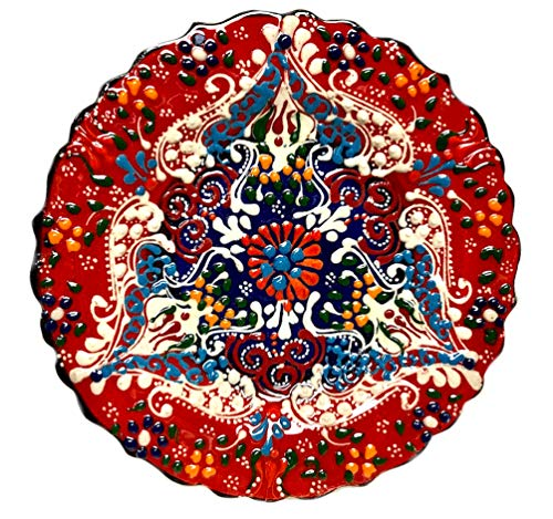 Turkish Ceramics~Hand Painted Ceramic Plate-7 inch-red