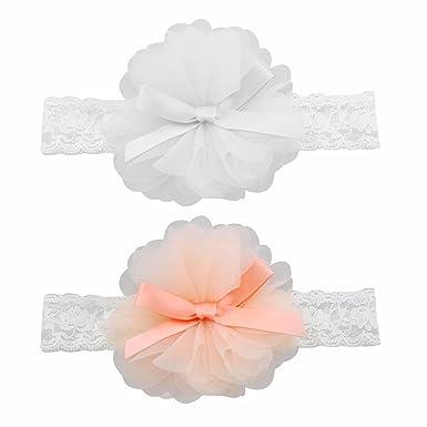 Hocaies 2 Stück Baby Kinder Haarband Mädchen Stirnband Kopfband Blumen Blüte Haarschmuck Headband Hairband Babygeschenke Taufe Geschenksets