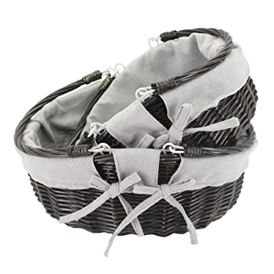 HDKJ Oval Wicker Picnic Basket Storage with Movable Handle for Food or Vegetable (Dark Grey, Set of 2): Home & Kitchen