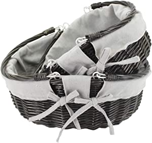 HDKJ Oval Wicker Picnic Basket Storage with Movable Handle for Food or Vegetable (Dark Grey, Set of 2)