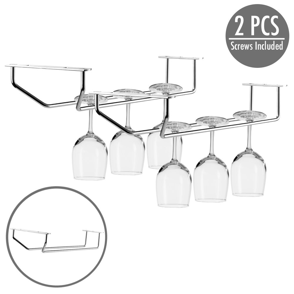 2 pcs Under Cabinet Wine Glass Stemware Holder Single Row 11 inch - Durable Chrome Stainless Steel Rack Wine Glasses Storage Organizer with Screws Included for Effortless to Install – Holds up to 6
