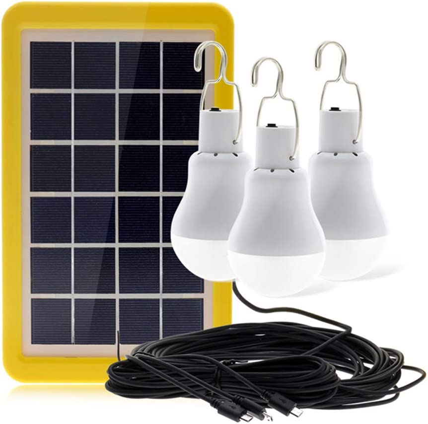 Solar Portable Smart Light Control Bulb Solar Panel Lamp USB Powered Rechargeable Lamps for Home Shed Barn Indoor Outdoor Emergency Hiking Tent Reading Camping 3 Bulbs with Light Control Sensor