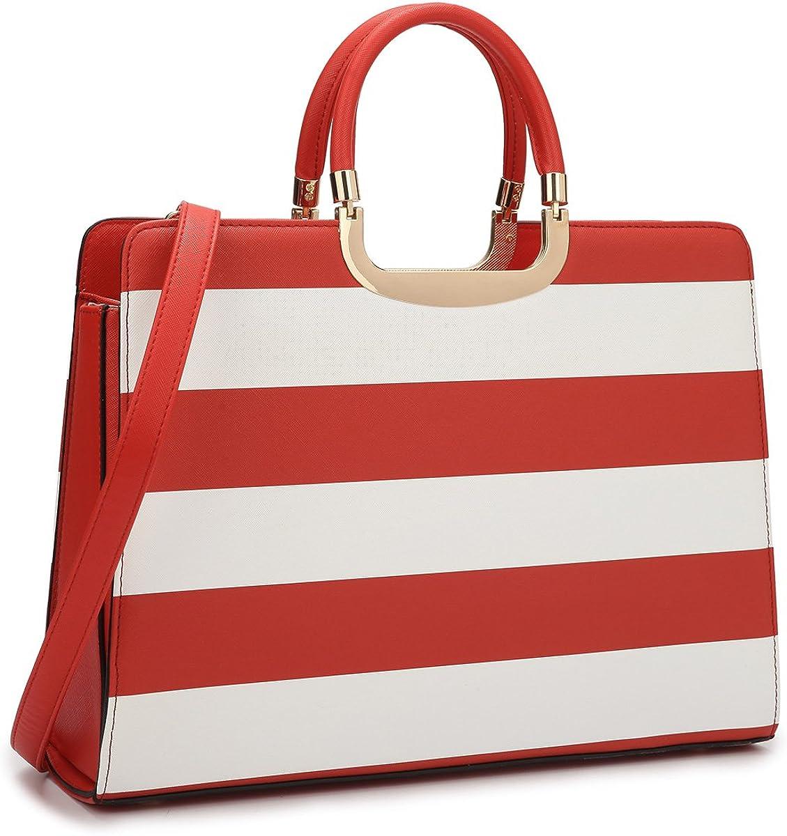 Dasein Women Top-handle Satchel Purses and Handbags for Ladies Striped Shoulder Bags Work Tote