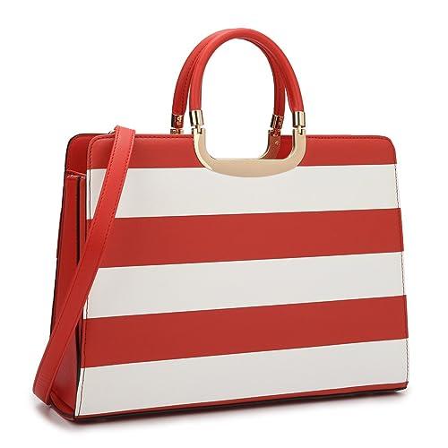 Dasein Bolso de Cuero de la PU de la Parte Superior de la Mano para Ordenador portátil para Mujer Grande Rojo/Blanco: Amazon.es: Zapatos y complementos