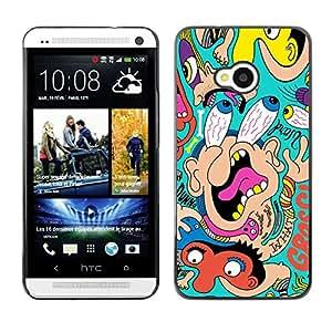 TECHCASE**Cubierta de la caja de protección la piel dura para el ** HTC One M7 ** Big Eyes Face Portrait Comic Cartoon Wallpaper