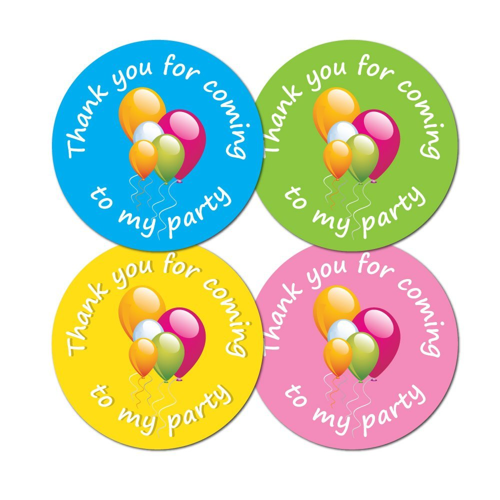 'Thank You For Coming To My Party' - 60mm diameter party stickers - 4 colours (12) StickerZone
