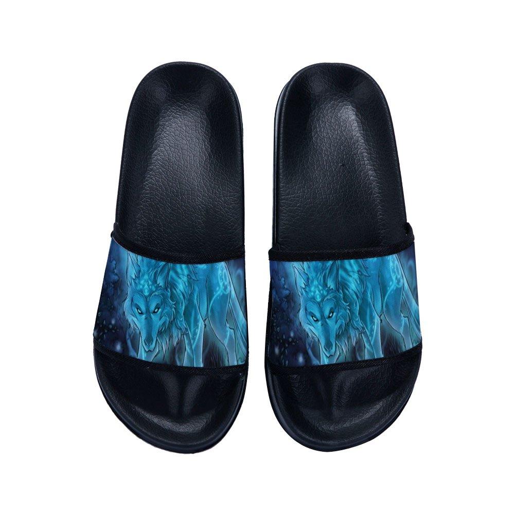 Green Eyes Wolf Cartoon Sandal Slipper Indoor Shower Open toed Slide Shoes Women