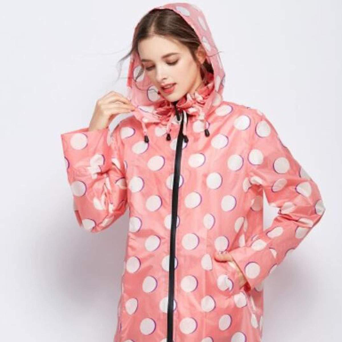Long Raincoat Equipment Large Lapel Adult Womens Fashion Windbreaker Dry Color : Pink, Size : M Jiansheng Raincoat Yellow Light Portable Hiking Pink M