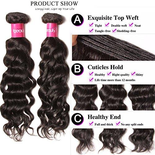 Longqi 7a Unprocessed Virgin Hair Brazilian Natural Wave Bundles Pack of 3 Cheap Wavy Human Hair Bundles Deal (18 20 22inch, Natural Color) by Dinoce (Image #2)