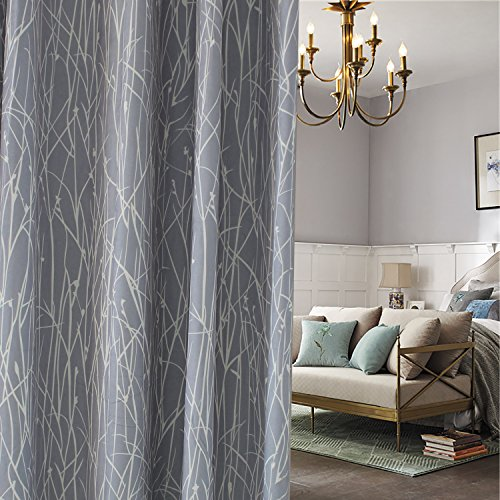 Gray Curtains Branches Valance – Anady Top 2 Panel White Branches Grey Curtains Living Room Small Short Drapes Grommet 24 inch Long(2018 New) Review