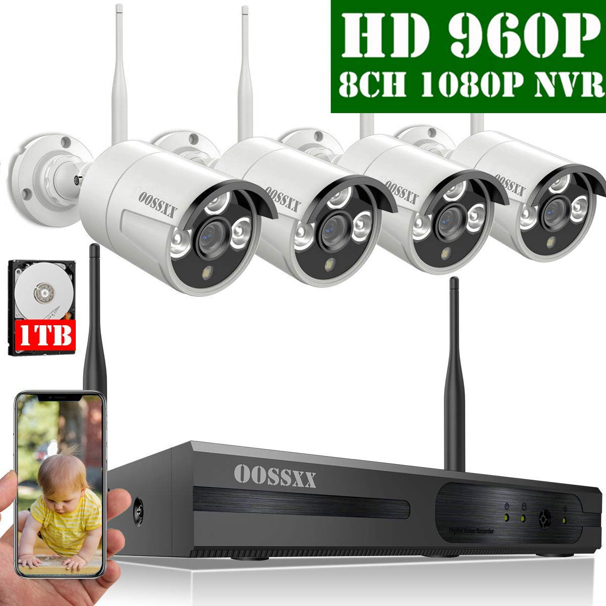【2020 Nuevo】Sistema de Cámara Inalámbrica de Seguridad Interior/Exterior, 8 Canal 1080P NVR Kit 4 960P IP Cámaras de Videovigilancia WiFi Exterior con Alarma de Detección de Movimiento, 1TB Disco Duro