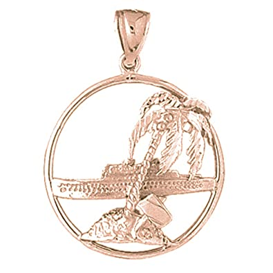 d2729855f2a94 Amazon.com: 14K Rose Gold Palm Tree And Cruise Ship Pendant - 35 mm ...