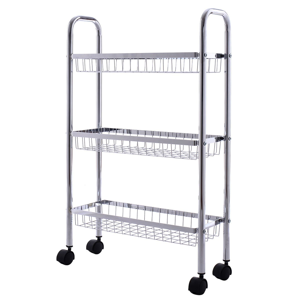 Global House Products GHP 18.7''x6.5''x30.1'' Silver Chrome Steel Basket 3-Tiered Storage Rack Organizer by Global House Products
