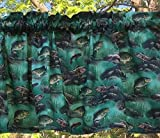 Fish Bass Crappie Outdoor Fishing Water Sports Lodge Camping Cabin Nature Woodland Fisherman Gone Fishing Curtain Valance
