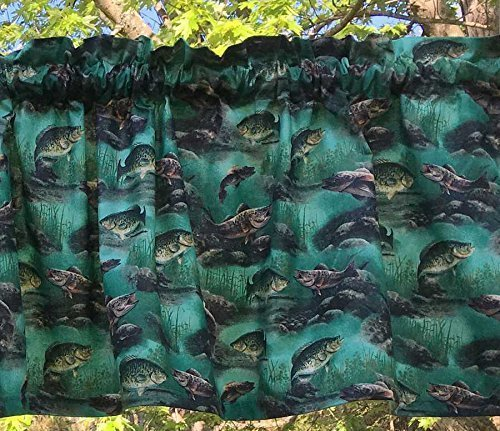 Lodge Pocket Drapes Rod (Fish Bass Crappie Outdoor Fishing Water Sports Lodge Camping Cabin Nature Woodland Fisherman Gone Fishing Curtain Valance)