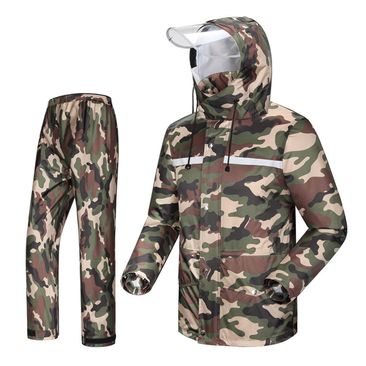 LAXF-Regenbekleidung Regenanzug für Männer wasserdicht Radfahren, Regenmantel Herren mit Kapuze Motorrad Fahren Golf 2-teiliger Anzug