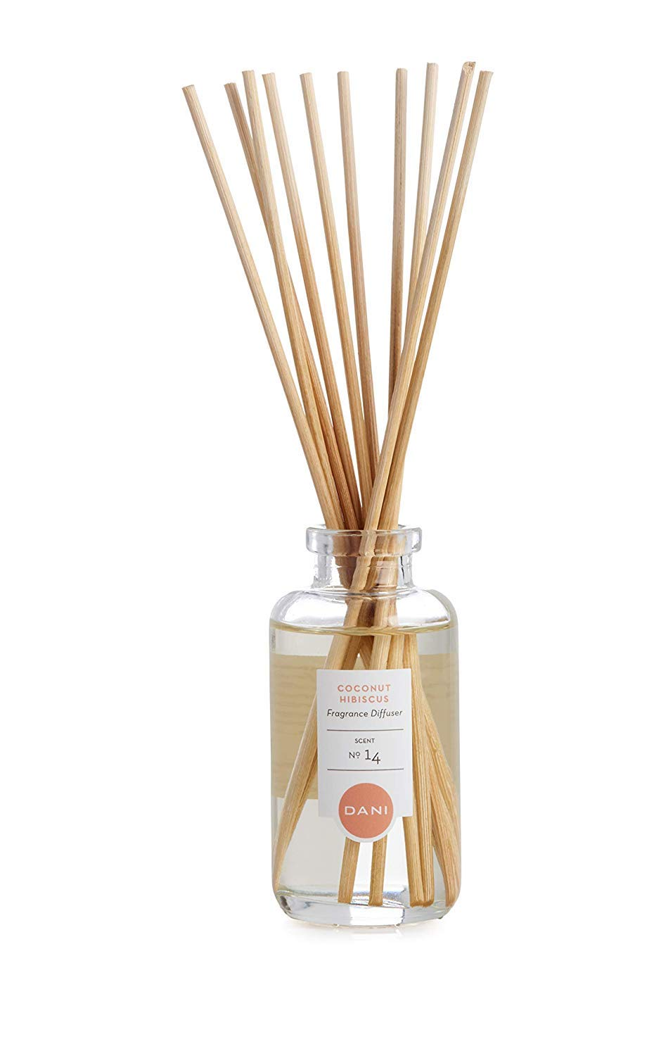 Natural Reed Diffuser Set by DANI Naturals - Tropical Coconut Hibiscus Scent - Aromatherapy Essential Oils - Alcohol Free - 10 Diffuser Sticks - 3.5 Ounce Glass Bottle by DANI (Image #2)