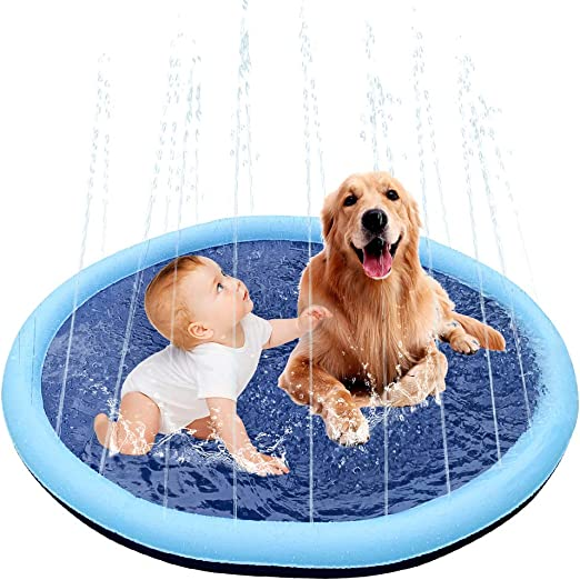 Splash Sprinkler Pad for Dogs and Kids-59 Inch Inflatable Large Plastic Dogs Pools,Summer Outdoor Backyard Water Toys,Thickened Durable and Foldable,Wading Pool for Dogs Babies and Toddlers