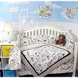 SOHO Brown Charcoal French Toile Crib Nursery Bedding Set 14 pcs