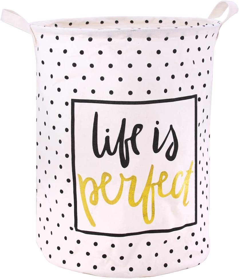 Jacone Stylish Gold Stamping Pattern Design Laundry Basket Canvas Fabric Waterproof Cylindric Storage Bin Nursery Hamper with Handles, Decorative and Convenient for Kids Bedroom (Life is Perfect)