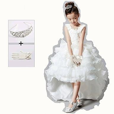 908a1dc18ec19 子供ドレス ワンピースホワイト手袋 王冠付き お姫様 演奏会ロングドレス フォーマル プリンセスドレス パーティー