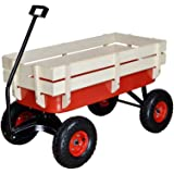 TMS Outdoor Wagon All Terrain Pulling w/ Wood Railing Air Tires Children Kid Garden