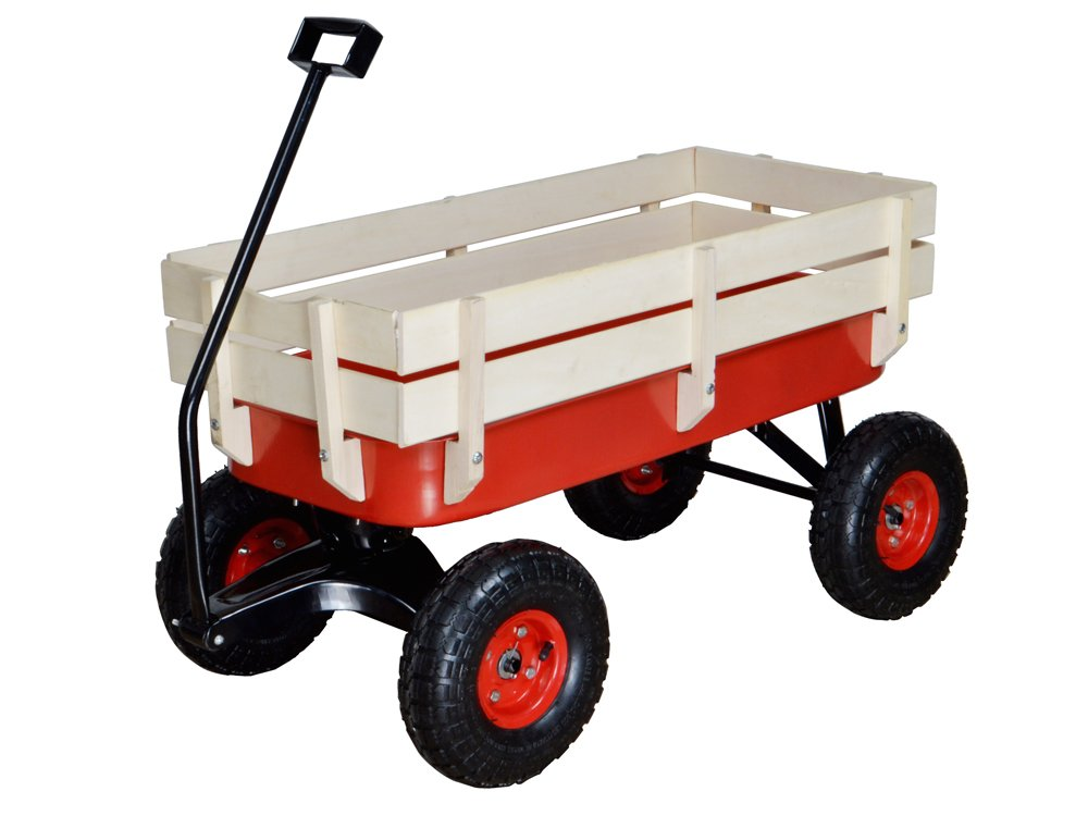 TMS Outdoor Wagon All Terrain Pulling w/Wood Railing Air Tires Children Kid Garden by TMS (Image #1)