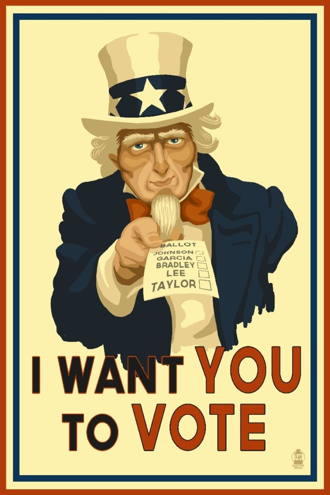 Uncle Sam – I Want You to Vote – 政治 9 x 12 Art Print LANT-71243-9x12 B01CXK4DFM 9 x 12 Art Print9 x 12 Art Print