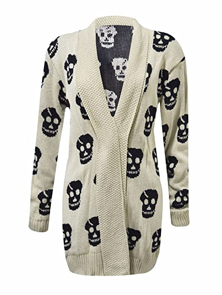 NEW WOMENS LADIES LONG SLEEVE SKULL KNITTED JUMPER TOP 8 10 12 14