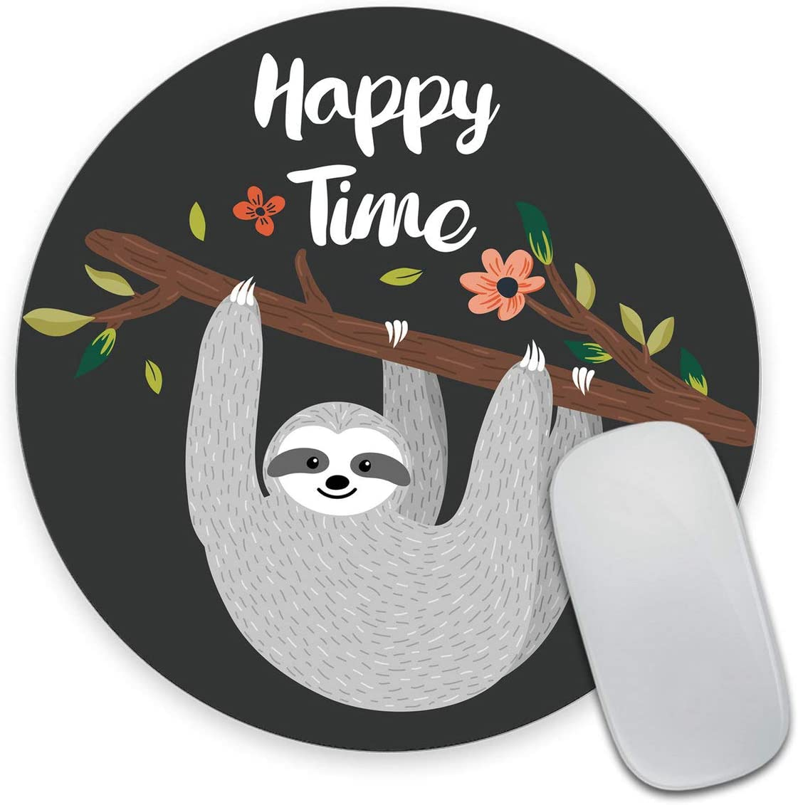 Amazon Com Smooffly Cute Baby Sloth Inspirational Quotes Round Mouse Pad Happy Time With Funny Sloth Hanging On The Tree Circular Mouse Pads Office Products